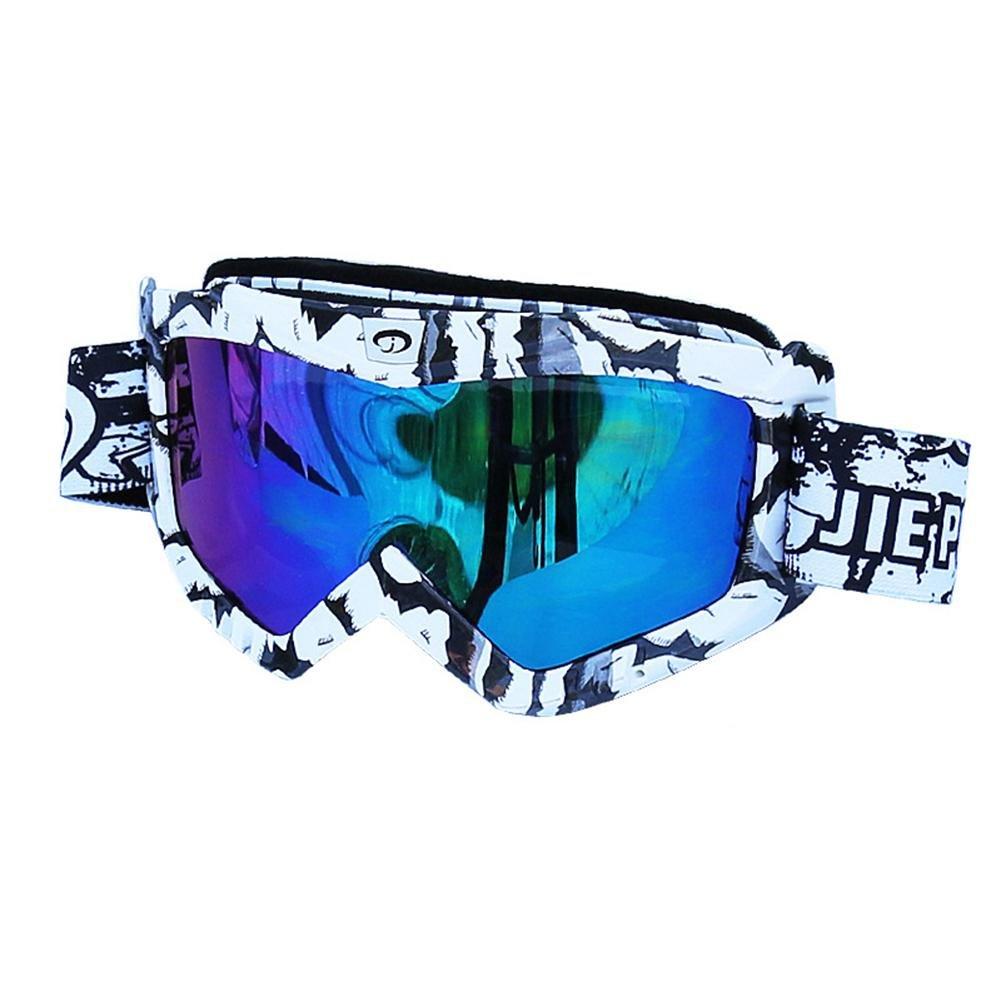 Männer und Frauen Outdoor Sports Winddicht Brille Anti-UV Anti-blindheit Ski Sonnenbrillen Motorrad Fahrt Anti-staub Gläser , zebra , White Lenses