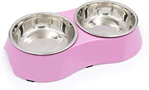 KLASKWARE Stainless Steel Pet Bowl,Double Small Dog Bowl with Non-Skid Rubber Feet, Food Water Dish Feeder for Dogs Cats and Pets