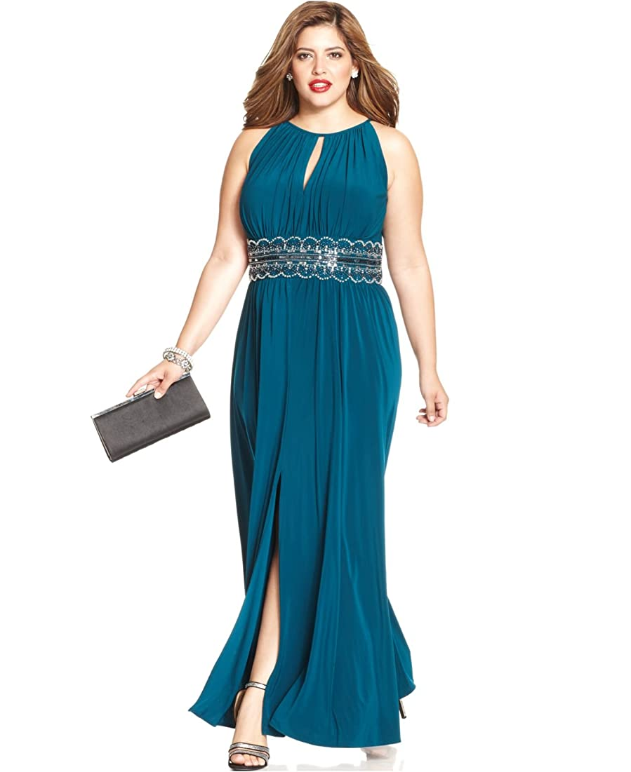 RM Richards Women\'s Plus Size Beaded Waist Halter Evening Gown at ...
