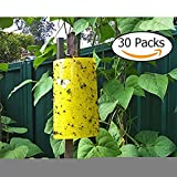 Double-Sided Fly Traps Waterproof Yellow Sticky Traps for Flying Plant Insect for Fly Pet (6x8 Inches) (30 Pack)