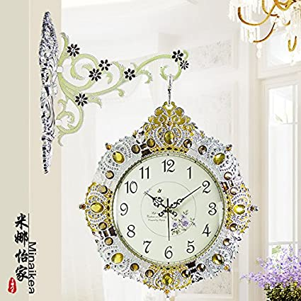 Moda coreano habitación doble simple creatividad pastoral moderna metal pared reloj relojes grandes reloj tabla 40