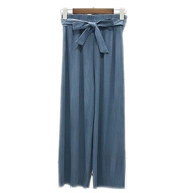 Pantalones de moda femenina de verano pantalones de gasa de cintura alta plisada  pantalones elásticos de 6ea6dc96cd1c