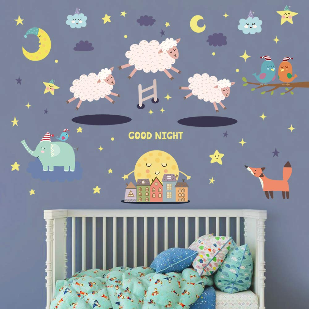 decalmile Baby Nursery Wall Stickers Animals Sleepy Sheep Good Night Wall  Decals Kids Bedroom Wall Decor