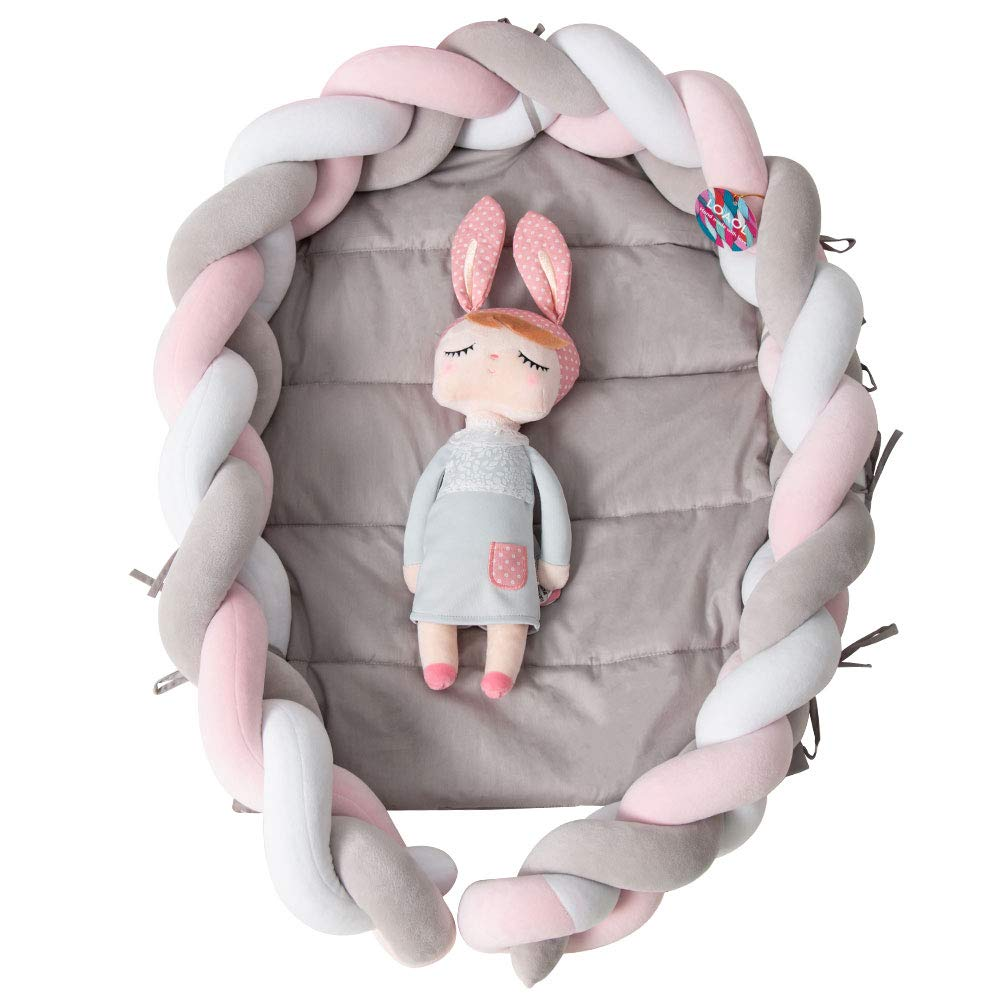 """LOAOL Baby Crib Nest Bed Newborn Lounger Sleeper Knotted Braided Infant Nursery Decor Cradle Bumper (White-Gray-Pink, 17.7"""" x 23.6"""")"""