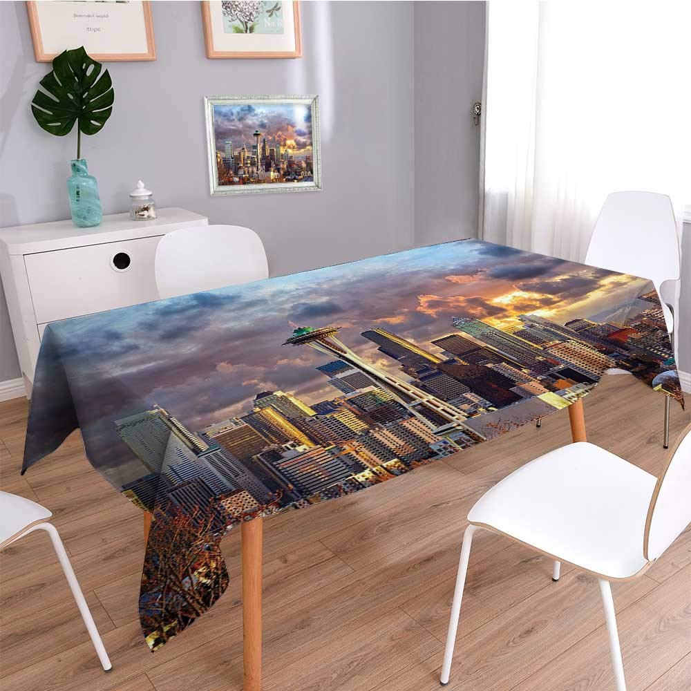 SCOCICI1588 Spillproof Fabric Tablecloth Seattle Skyline at WA Sun Lights Through Dramatic Clouds Scene wear-resistant, washable, anti-liquid spill-W50 x L72