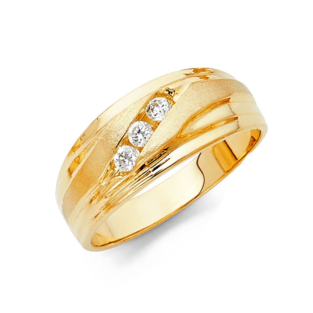 Wellingsale Men's Solid 14k Yellow Gold Polished CZ Cubic Zirconia Wedding Band - Size 12.5 by Wellingsale®