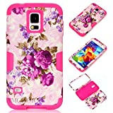 Galaxy S5 Case,S5 Case, AMCHOICE(TM) Purple Flower Design Shockproof Hybrid 3 Layers Hard PC and Soft Silicone Case For Samsung Galaxy S5 (Rose Red) [Free Stylus,Screen Protector,Cleaning Cloth]