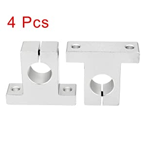 uxcell 4pcs SK8 Aluminum Linear Motion Rail Clamping Guide Support for 8mm Dia Shaft (Color: Silver Tone, Tamaño: SK8)