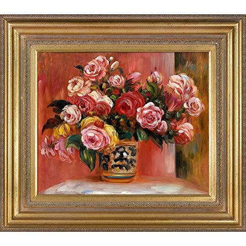 Roses Pierre Auguste Renoir - overstockArt Roses in a Vase, 1914 by Pierre Auguste Renoir, Hand Painted Oil with Mediterranean Gold Frame, 34