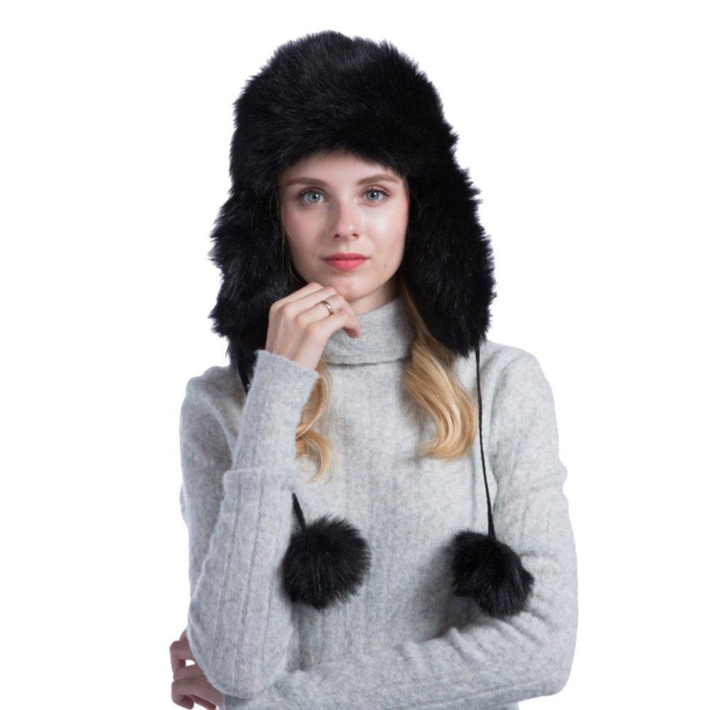 Tortor 1Bacha Women's Pom Pom Faux Fur Ushanka Russian Style Winter Trapper Hat Black