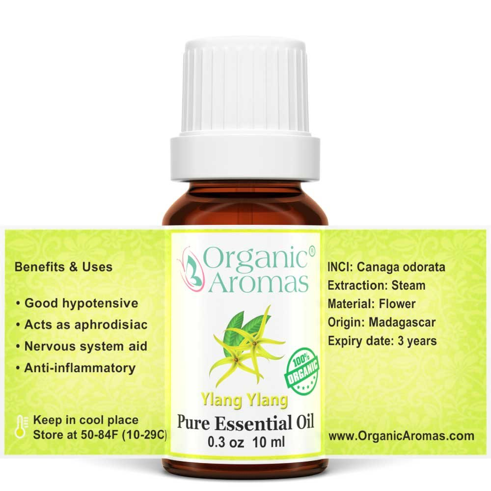 Ylang Ylang Essential Oil 100% Pure (Certified Organic) for Professional Aromatherapy - Therapeutic Grade - Works well with Organic Aroma Diffusers - 10 ml bottle