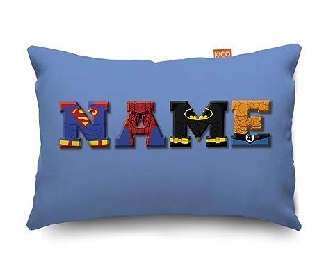 Blue Superhero Personalised Childrens Name Small Cushion ...