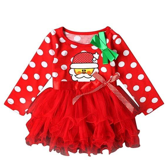 Navidad Fiesta Vestido Bebe Niña Disfraz K-youth® Papá Noel Imprimir Tutú Vestidos  Niña b8014f7e128