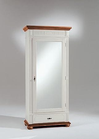bonito dielenschrank mit 1 spiegeltur und 1 schubkasten in fichte elfenbein lackiert bernstein antik patiniert