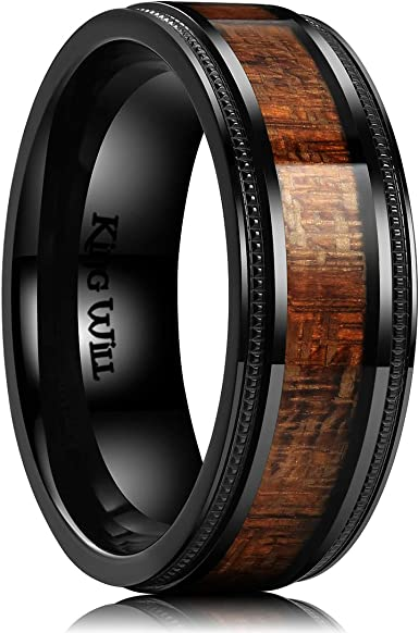 King Will Nature 7mm//8mm Titanium Ring Koa Wood Inlay Comfort Fit Wedding Band for Men Women Silver//Rose Gold
