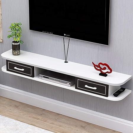 Estante Flotante plataforma de televisión en la pared televisión consola Mueble de TV Gabinete de almacenamiento con 2 cajones de TV Componente estante de la mesa Unidad de almacenamiento colgantes Hu: Amazon.es: