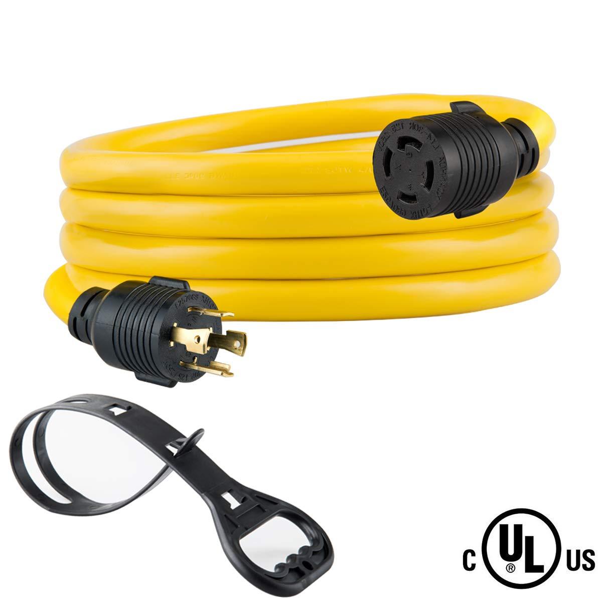 10 FEET Heavy Duty Generator Locking power cord NEMA L14-30P/L14-30R,4 prong 10 Gauge SJTW Cable, 125/250V 30Amp 7500 Watts Yellow Generator Lock Extension Cord With UL listed Yodotek