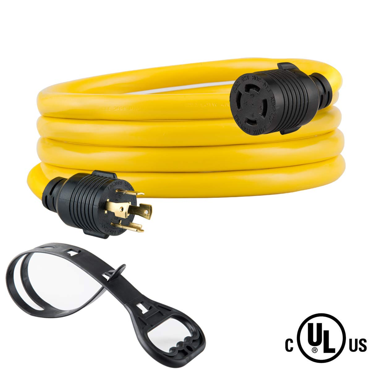 Yodotek 10 FEET Heavy Duty Generator Locking Power Cord NEMA L14-30P/L14-30R,4 Prong 10 Gauge SJTW Cable, 125/250V 30Amp 7500 Watts Yellow Generator Lock Extension Cord with UL Listed by Yodotek
