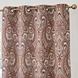 red patterned curtains  Paris Paisley Decorative Print Damask Pattern Thermal Insulated Blackout Energy Savings Room Darkening Soundproof Grommet Window Curtain Panels for Bedroom - Set of 2 (50 x 96 Long, Spice Red)