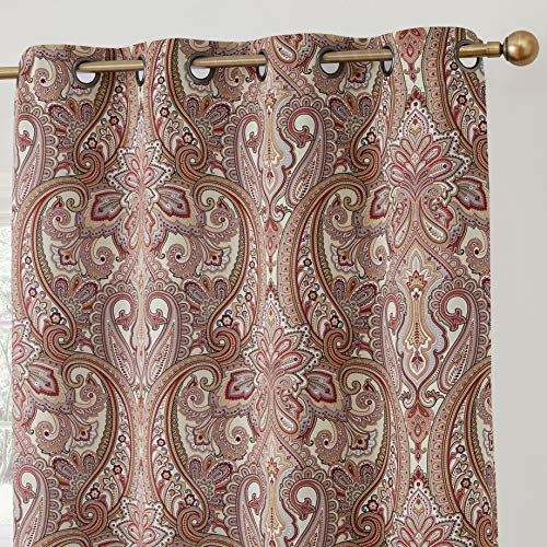 HLC.ME Paris Paisley Print Damask Thick Thermal Insulated Energy Efficient Room Darkening Blackout Grommet Top Window Curtain Panels for Bedroom & Living Room - Set of 2-50