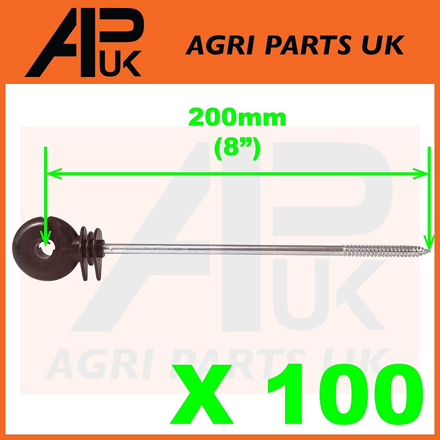 APUK 100 x Long Distance Ring Screw Insulators Electric Fence Poly wire Rope Offset