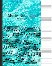 """Music Notebook Wide Staff: Manuscript Paper for Kids 