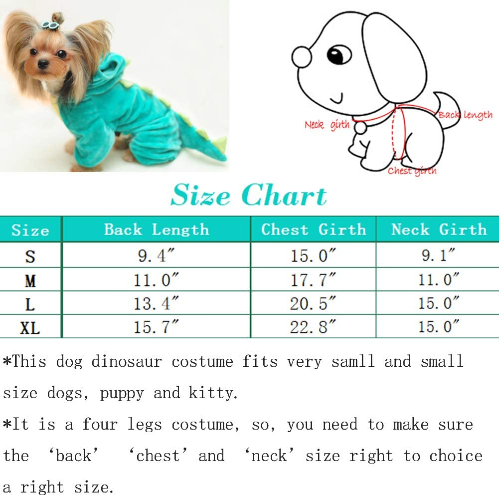 If You pet just fit S, Then Please Choose M to Your pet Hotumn Dinosaur Dog Halloween Costume Pet Dino Hoodie for Small Dogs,Green