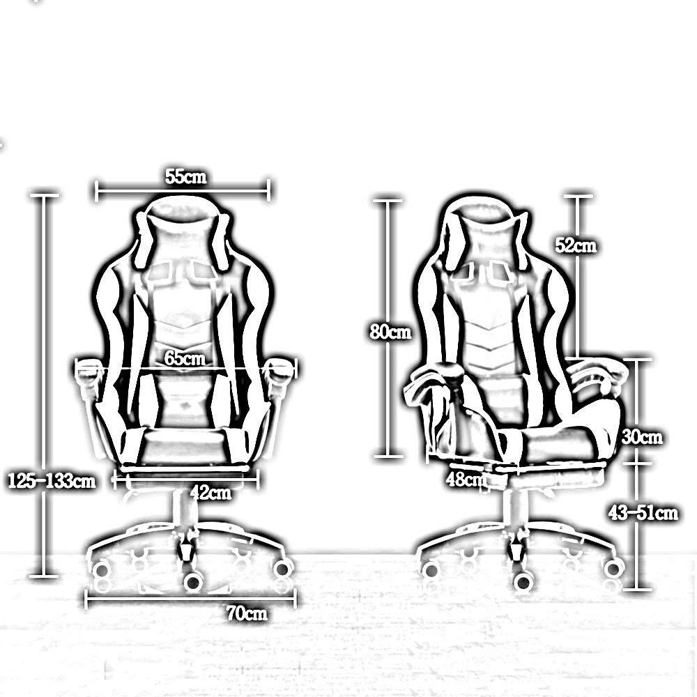 JIEER-C stol spelstol, ergonomi TV-spelstol högrygg racerstol med nackstöd och massage ländrygg kudde Nominell belastningskapacitet: 150 Kg, röd Röd