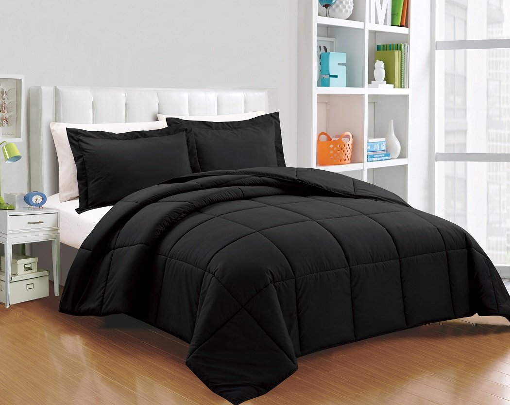 Chezmoi Collection 3-piece Down Alternative Comforter Set King, Black