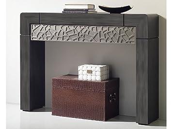 console meuble dentre vittro 120x90 cm gris patin et tiroir relief argent