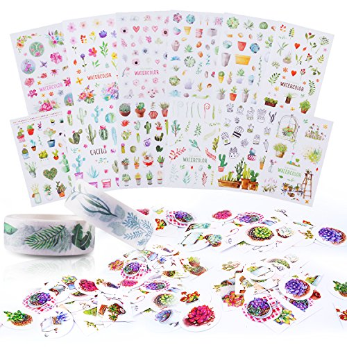 Decorative Succulent Plant Paper Stickers, Leaves Washi Tape, Scrapbooking Sticker for Label Diary Stationery DIY Album Stickers