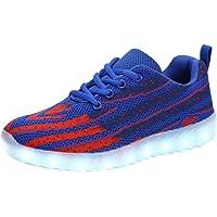 FLARUT USB Charging LED Shoes Breathable Light Up Sneakers for Kids Boys Girls(Blue,33 EU)