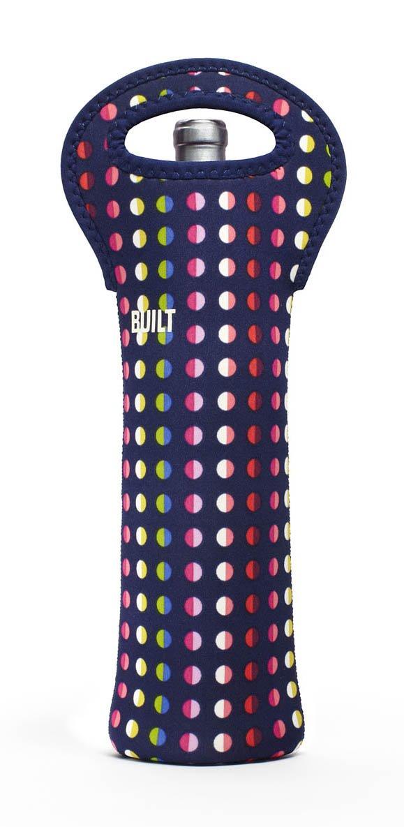BUILT Neoprene One Bottle Tote, Big Dot, Black and White 1B-BBW