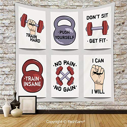 FashSam Tapestry Wall Blanket Wall Decor Set of Modern Cartoon Style Motivation Phrases Caricature Push Yourself Get Fit Home Decorations for Bedroom(W51xL59) -