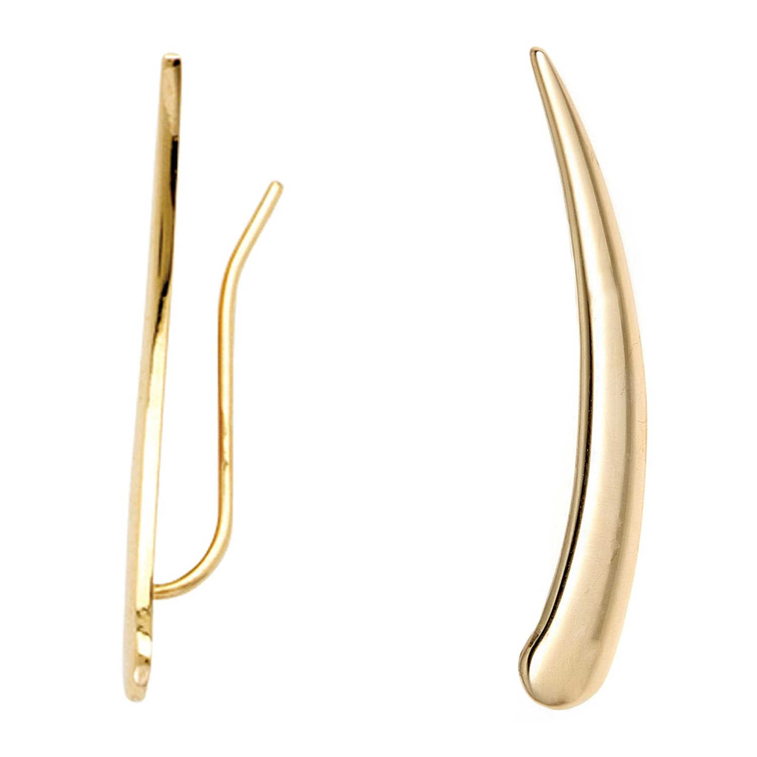 14k Yellow Gold Flat Curved Ear Climber Crawler Earrings 29 Mm Ritastephens