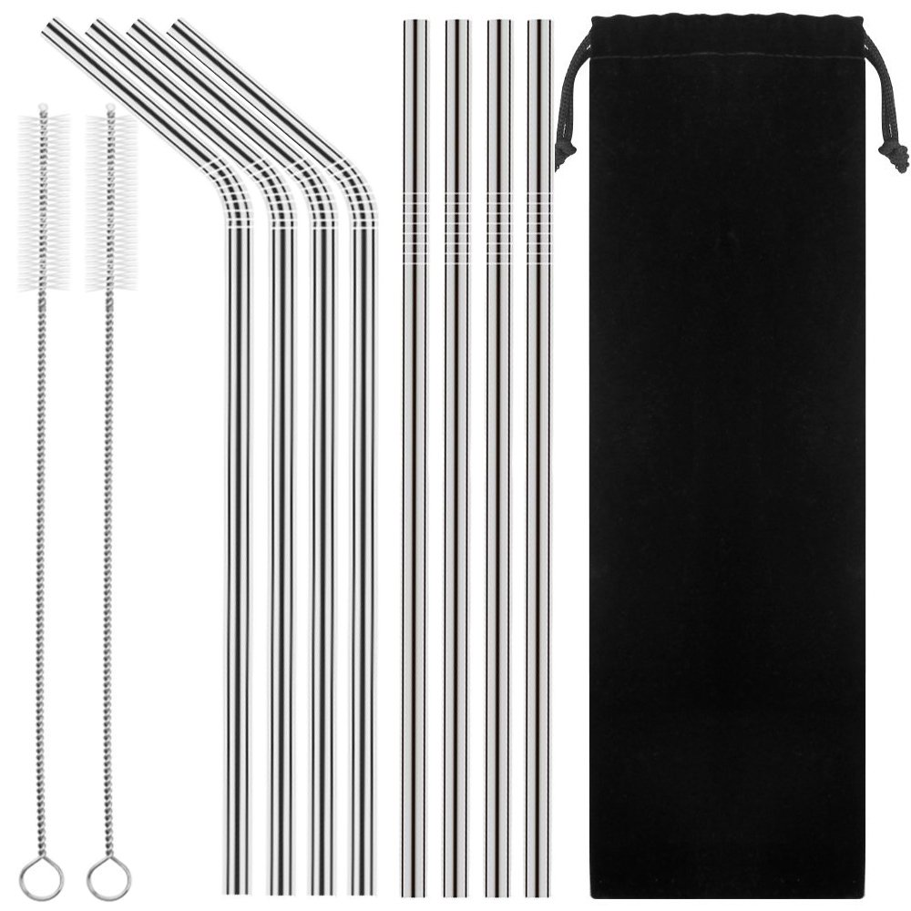Set of 8 Stainless Steel Straws Ultra Long 10.5'' Drinking Metal Straws For 20 30oz Stainless Tumblers Ramblers Cold Beverage (4 Straight + 4 Bent + 2 Brushes)