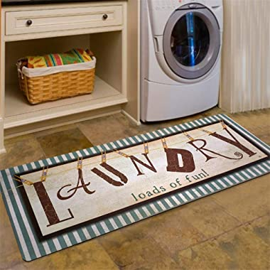 USTIDE Vintage Style Laundry Room Waterproof Floor Runners Non Skid Kitchen Floor Mat Farmhouse Washhouse Mat Bathroom Rugs Non-Slip Rubber Area Rug (20 x48 , 1)
