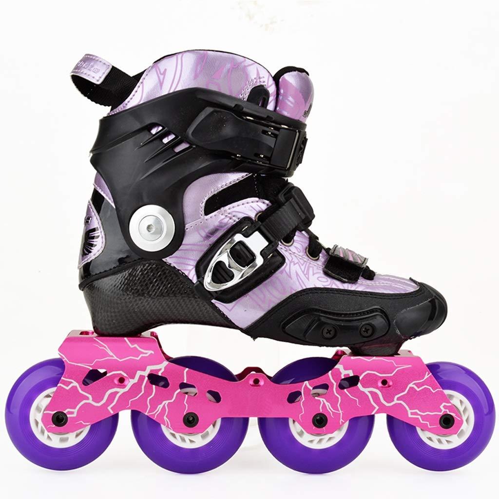 LIUXUEPING ローラースケート、 カーボンスケート、 ブレーキフラットシューズ、 男性と女性のローラーシューズ、 アダルトファンシーインラインスケート、 子供用スケート B07GKRYDPQ 37|Purple Purple 37