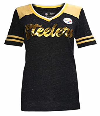 2cc155817 New Era Women s NFL Pittsburgh Steelers V-Neck T-Shirt Short Sleeve ONT5GO (