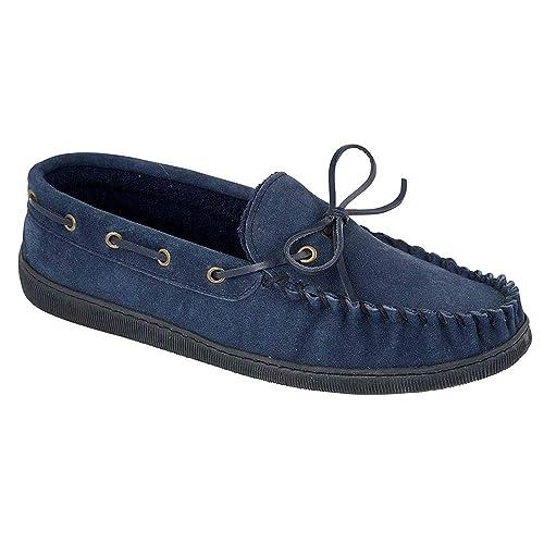 Piel de ante para hombre forro de pelo para hombre tipo Mocasín Zapatillas: Amazon.es: Zapatos y complementos