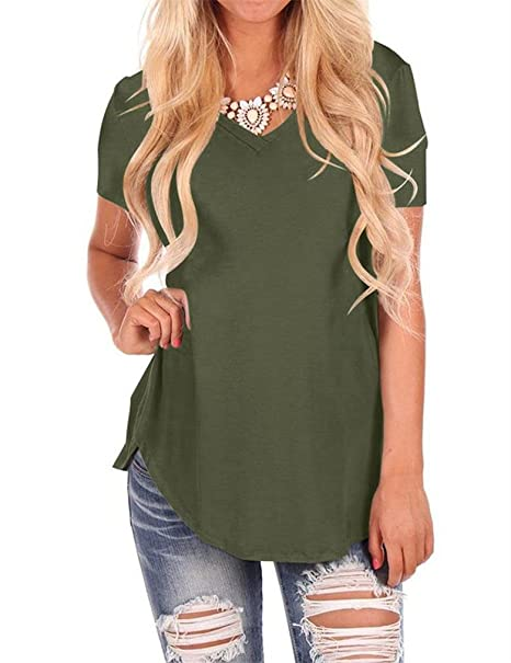 0e7d2f6fa1e27a Amazon.com: Uniboutique Womens Stylish Ladies Short Sleeve V Neck Curved  Hem T Shirts and Tops Blouses Olive Green Small: Clothing