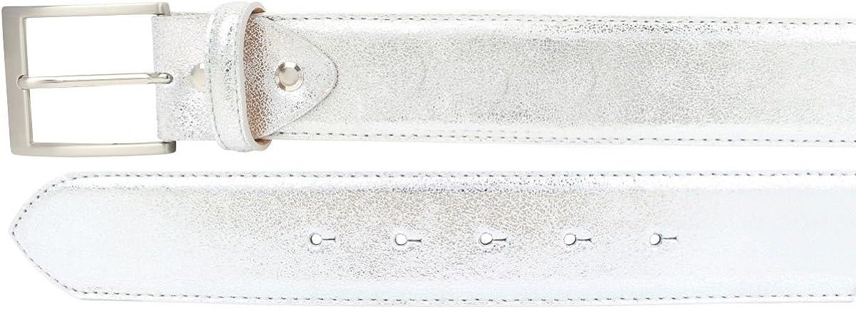 Hochwertiger Gürtel Metall-Optik Echt Leder 4,0 cm | Leder-Gürtel Metallic-Look 40mm | Metall-Ledergürtel in Silber Gold Rosegold 4cm Gold, Silber