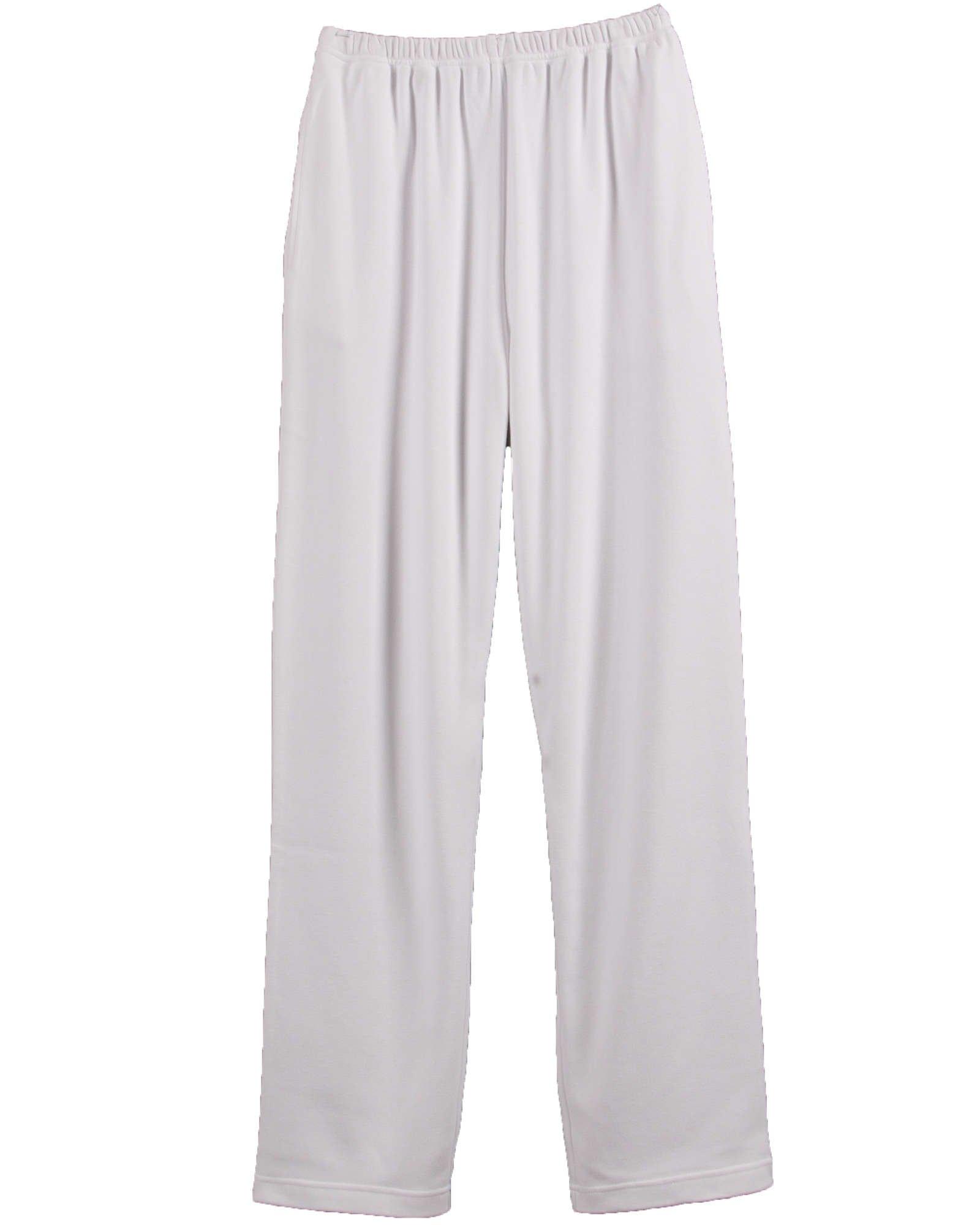 UltraSofts Elastic-Waist Interlock Pull-On Pants, White, Small