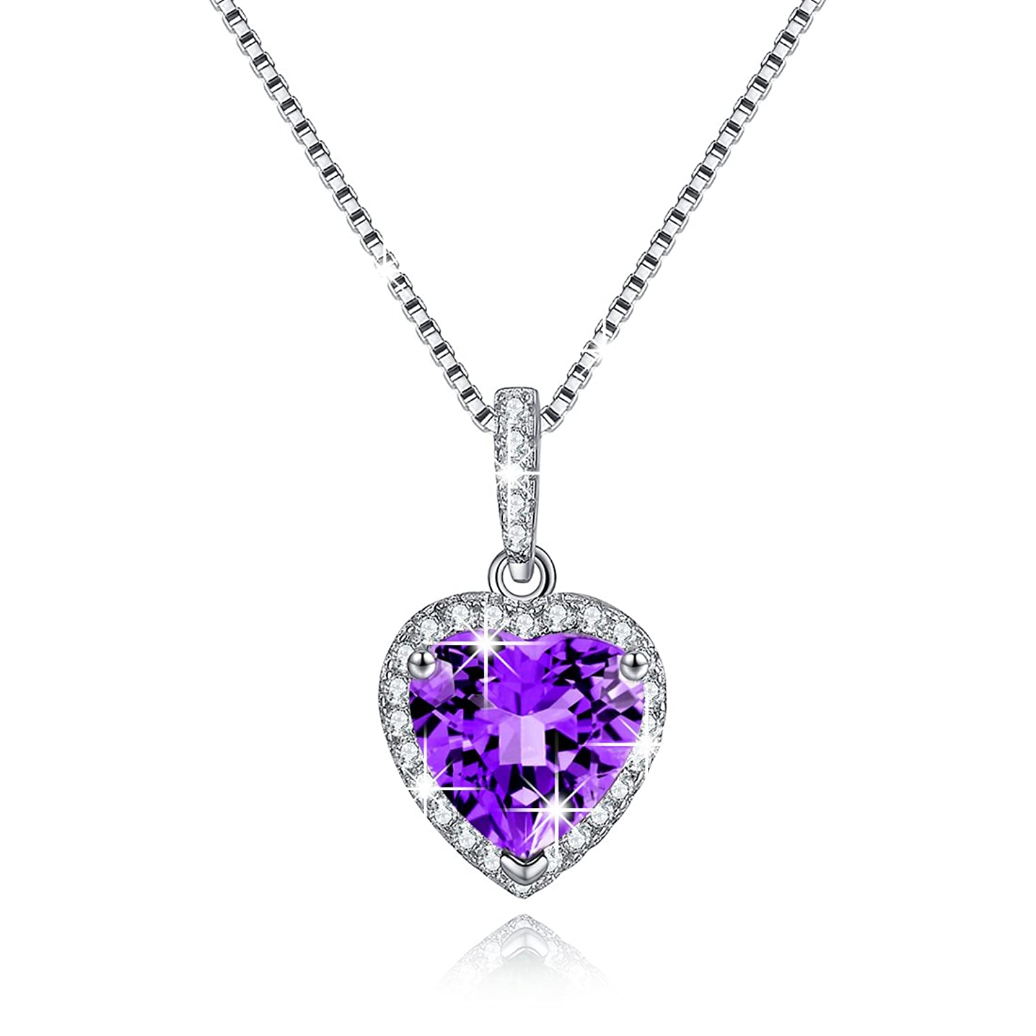 Heart Necklace Swarovski Elements Diamond Pendant Necklace Sterling Silver