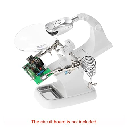 Amazon.com: LED Helping Hands Magnifier Station, LAFEINA 3X4.5X Welding Magnifying Glass Desktop Magnifier with Alligator Clips for Soldering, Assembly, ...