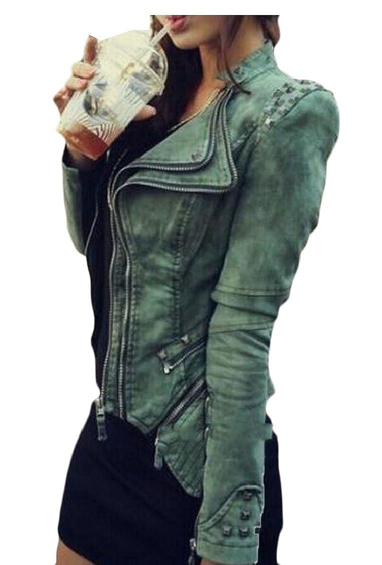 Green Esast Women Denim Jacket Punk Lapel Tuxedo Zipper Moto Blazer Jacket