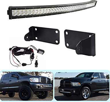 Dasen For 42 240w Double Row Curved Led Light Bar W Hidden Bumper Mounting Bracket Remote Control Wiring Kit Fit 2010 2019 Dodge Ram 2500 3500