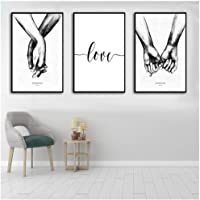 Hxjlm Nordic Hand In Hand Decorative Painting Black And White Love Wall Art Canvas Poster Simple Triple Bedroom Living Room Canvas 30X40Cmx3Pcs