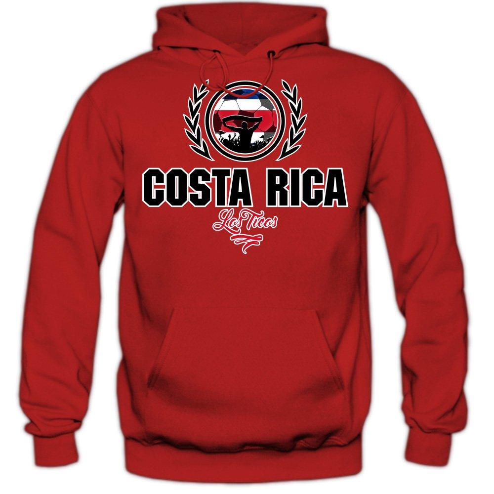 Shirt Happenz Fútbol Costa Rica V2 Sudadera con Capucha | Hombre | Fútbol | Equipo Nacional | Selección Nacional | Costa Rica | Los Ticos | Hoody: ...