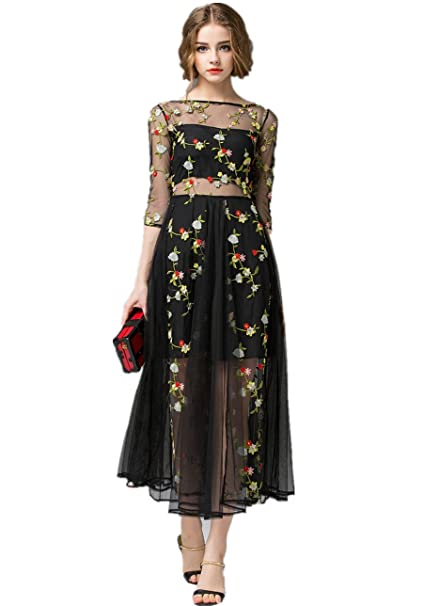 Amazon.com: VOSTE Womens Floral Embroidered See Through Tulle Maxi Dress: Clothing